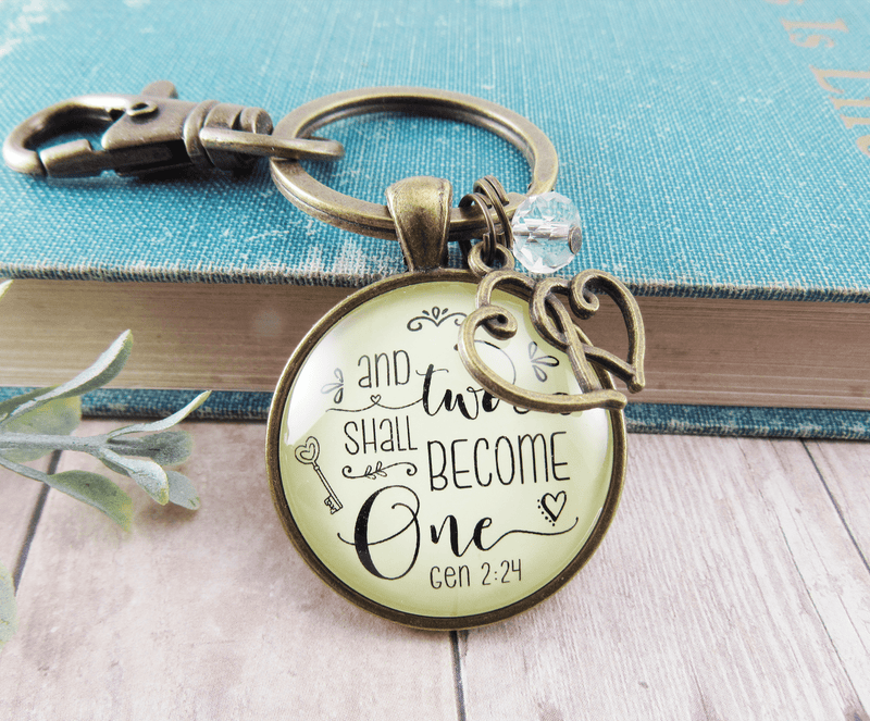 Marriage Womens Keychain Two Shall Become One Bridal Shower Wedding Gift - Gutsy Goodness Handmade Jewelry