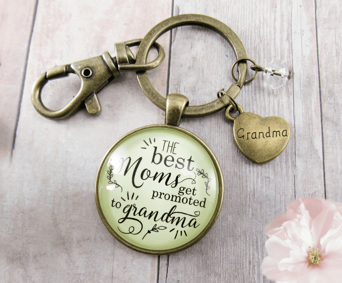 New Grandma Keychain Best Moms Get Promoted Grandmother Jewelry Gift Heart Charm - Gutsy Goodness Handmade Jewelry