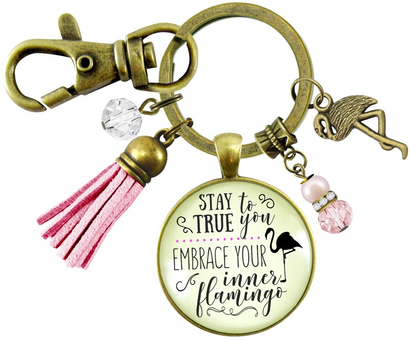 Flamingo Keychain Stay True To You Quote Tropical Fun Jewelry Pink Tassel Charm