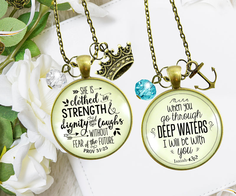 Gutsy Goodness Best Selling Bundle Faith Necklaces | She is Clothed Strength | Deep Waters 24""