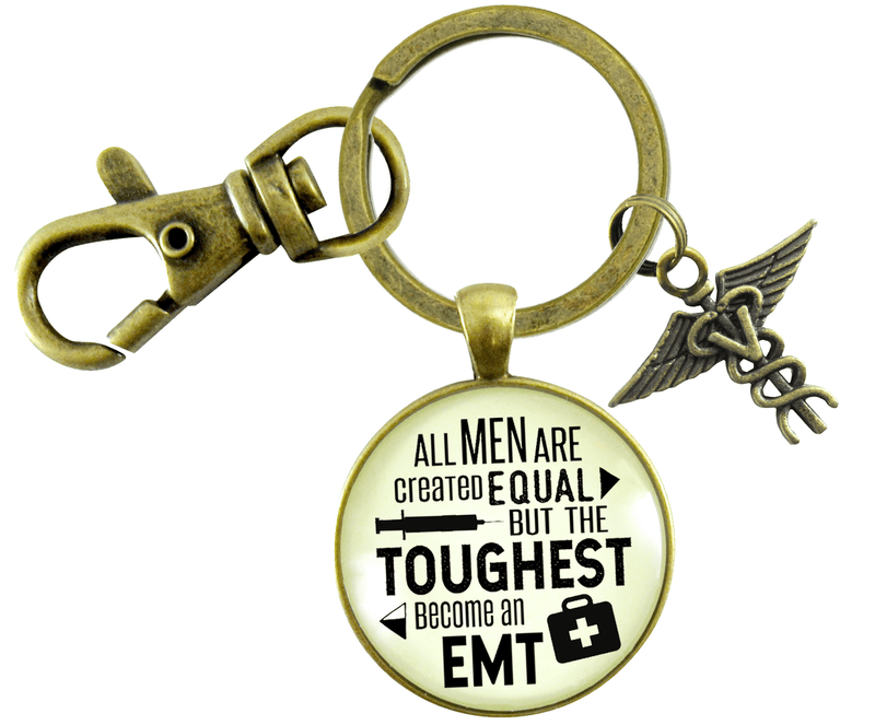 Mens EMT Keychain All Men Created Equal Toughest Become EMT Jewelry Gift Caduceus Charm