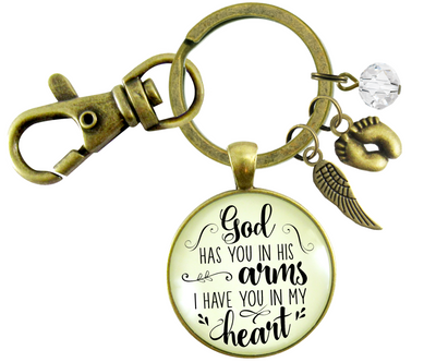 Baby Loss Memorial Keychain For Mom God Has You In Arms Heart Miscarriage Jewel Gift - Gutsy Goodness Handmade Jewelry