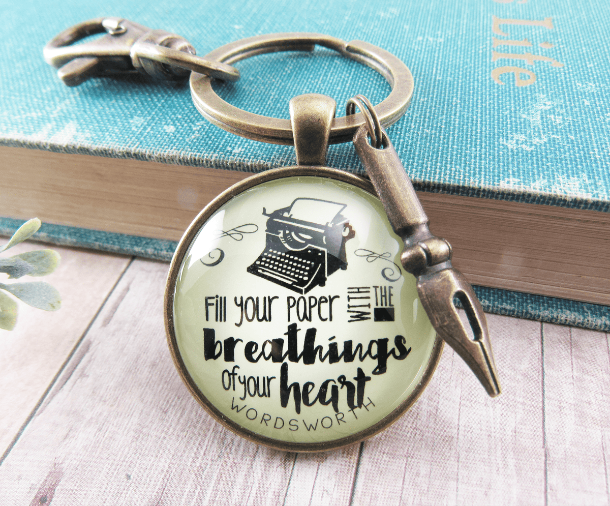Writing Keychain Fill Your Paper Style Woodsworth Literary Quote Typewriter Pendant Gift - Gutsy Goodness
