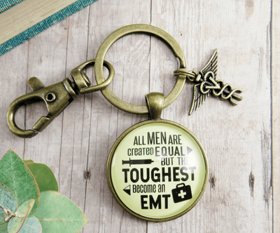 Mens EMT Keychain All Men Created Equal Toughest Become EMT Jewelry Gift Caduceus Charm - Gutsy Goodness Handmade Jewelry