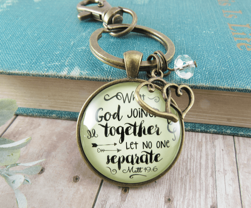 Woman of Faith Keychain Marriage Quote Bridal Shower Wedding Gift - Gutsy Goodness