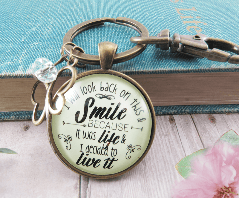 Survivor Keychain I Will Look Back Life Strength Meaningful Jewelry - Gutsy Goodness Handmade Jewelry