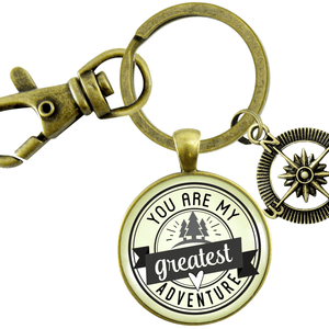 Gutsy Goodness You are My Greatest Adventure Compass Keychain Romantic Couple Gift
