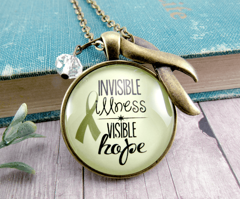 Gutsy Goodness Invisible Illness Necklace Awareness Ribbon Hope Jewelry Charm - Gutsy Goodness Handmade Jewelry