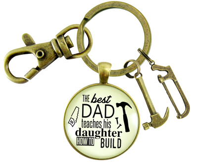 Best Dad Teaches Daughter To Build Keychain From Daughter Hammer Saw Tool Charm - Gutsy Goodness