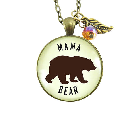 "24"" Mama Bear Necklace Rustic New Future Mom Saying Bronze Family Inspired Pendant Bear Jewelry For Women Gift"