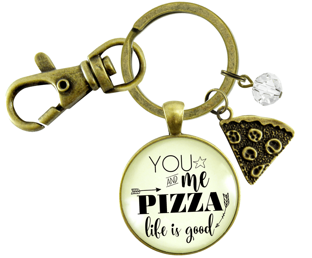 Pizza Keychain You Me Pizza Life Is Good Unisex Friendship Food Theme Fun BFF Jewelry Slice