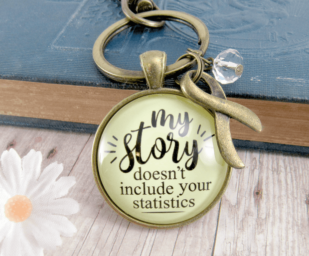 Survivor Keychain My Story Doesn't Include Statistics Funny Jewelry 1