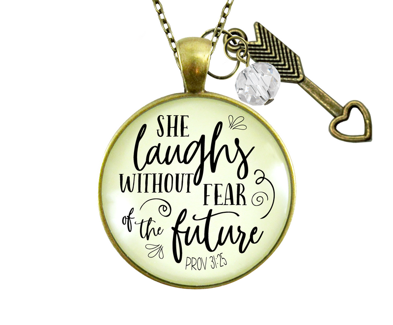 Gutsy Goodness Faith Necklace She Laughs Without Fear Inspirational Pendant Jewelry For Women