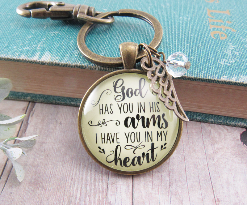 God Has You in His Arms Memorial Keychain Jewelry Angel Wing Charm