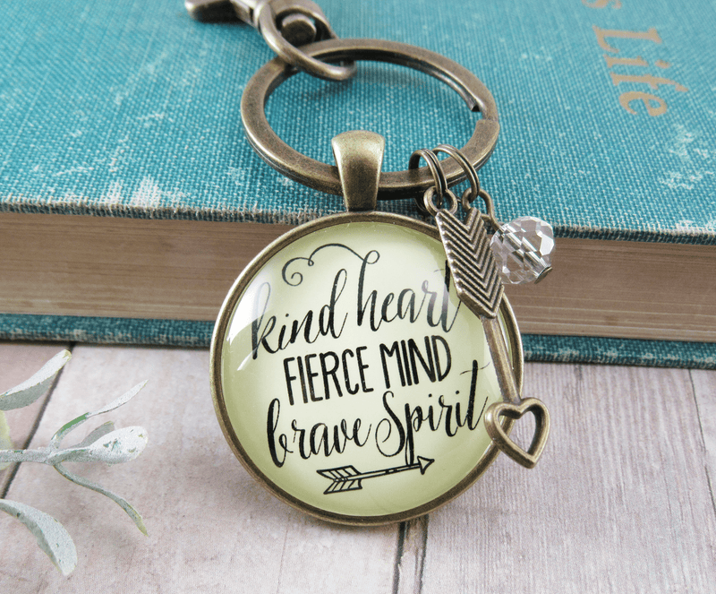 Kindness Keychain Kind Heart Fierce Mind Brave Spirit Quote Positive Message Arrow Heart Jewelry - Gutsy Goodness