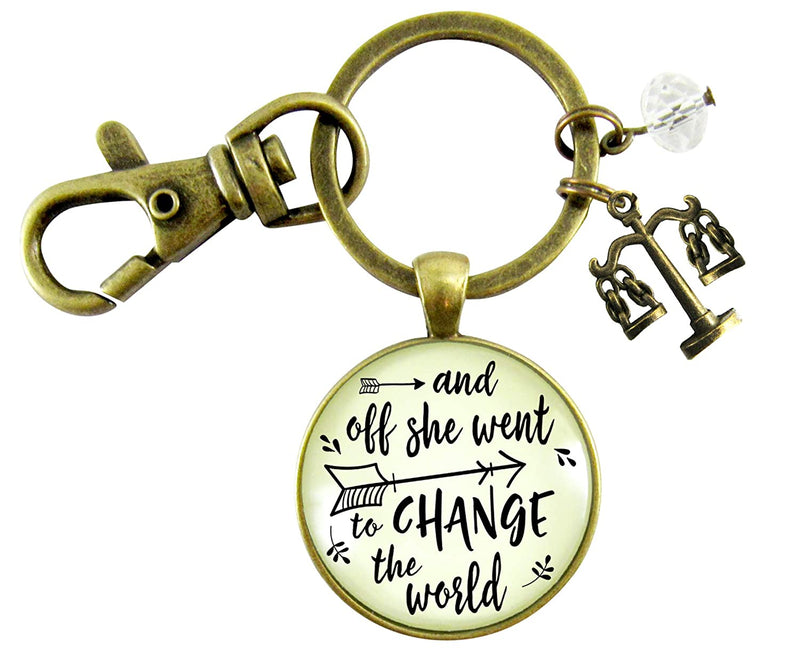 Law School Graduation Keychain Change The World Women's Lawyer Graduate Gift Justice Scales Jewelry Charm