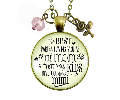 "24"" Mimi Necklace Best Part of Having You As Mom Kids Have Grandma Women's Jewelry Keepsake Gift From Daughter"