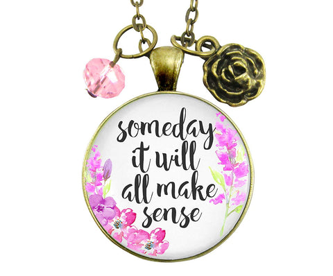"24"" Someday It Will All Make Sense Necklace Encouraging Womens Jewelry Flower Pendant Heart Charm"