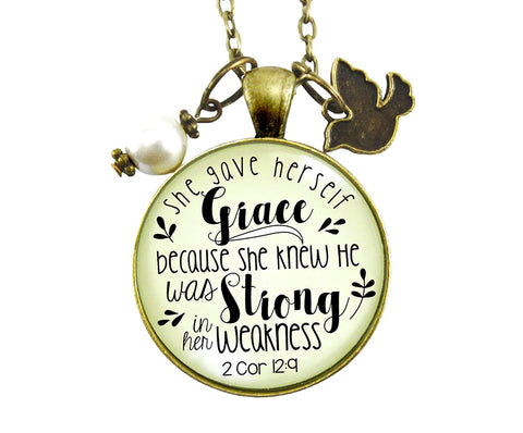 "24"" She Gave Herself Grace Christian Necklace Bible Quote Soulful Life Journey Pendant Rustic Dove Jewelry For Women"