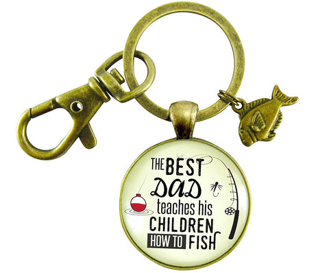 Fishing Dad Keychain The Best Dad Teaches His Children How to Fish Rustic Meaningful Mens Father Gift
