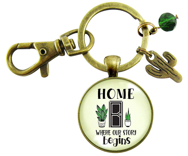 Home Where Our Story Begins Keychain First New House Southerwest Inspired Key Ring Realtor Gift