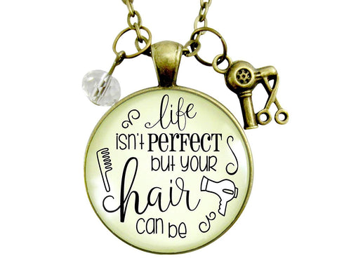 "36"" Beautician Necklace Life Isn't Perfect But Hair Can Be Jewelry Stylist Glam Quote Gift For Women Blowdryer Charm"