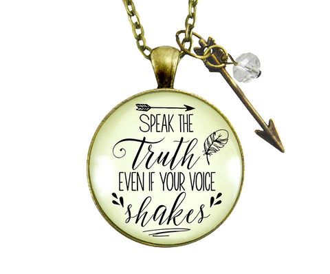 "24"" Speak Truth Even If Your Voice Shakes Necklace Brave Women Leader Jewelry Warrior Message Pendant Arrow Charm"