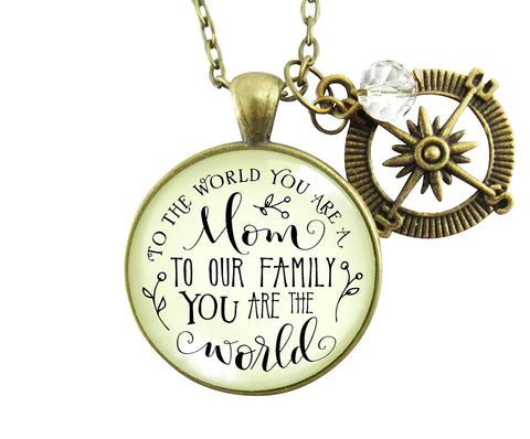"36"" Best Mom Necklace To The World You Are a Mom Family Loves You Bronze Pendant Gift Jewelry For Mother"