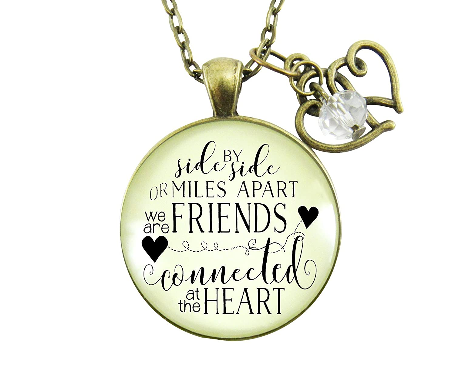 "Gutsy Goodness 36"" Best Friends Necklace Side by Side Long Distance Quote Gift Jewelry"