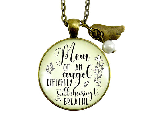 "24"" Baby Memorial Necklace Mom Of Angel Defiantly Choosing To Breathe Miscarriage Loss Wings Charm Sympathy Jewelry Gift"