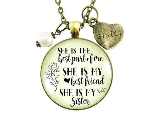 "24"" Love My Sister Necklace She Is The Best Part of Me Gift Sisterhood Friendship Women Jewelry Heart Charm"