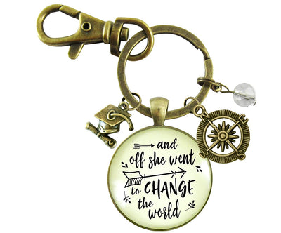 And Off She Went to Change the World Graduation Keychain Tassel Cap Compass Charms Women's Jewelry Gift