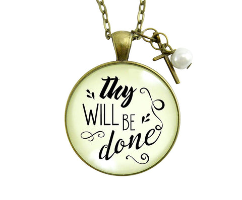 "24"" Thy Will Be Done Christian Message Quote Necklace Vintage Style Pendant Cross Charm Faith Jewelry For Women"
