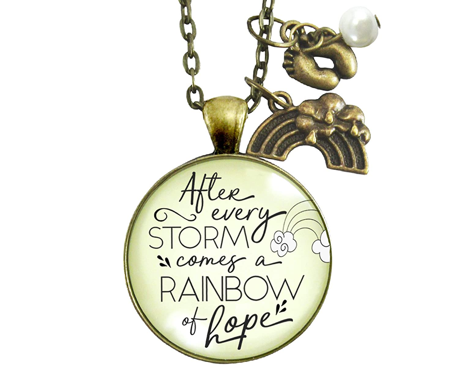 "Gutsy Goodness 36"" Rainbow Baby Jewelry After Storm Comes Hope Mom Necklace Gift"