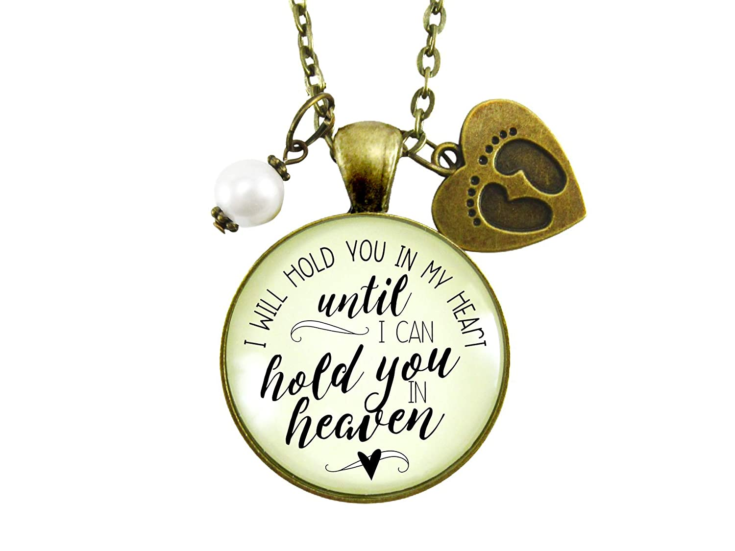 "Gutsy Goodness 36"" Miscarriage Necklace Hold You in Heart Baby Remembrance Jewelry Gift"