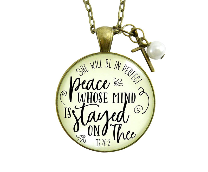"24"" Peaceful Necklace She Will Be In Perfect Peace Christian Faith Jewelry Anxiety Pendant Butterfly Charm - Gutsy Goodness"