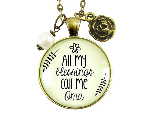 "24"" Oma Necklace All My Blessings Call Me Oma German Grandma Womens Gift Jewelry Blessed Life Card"
