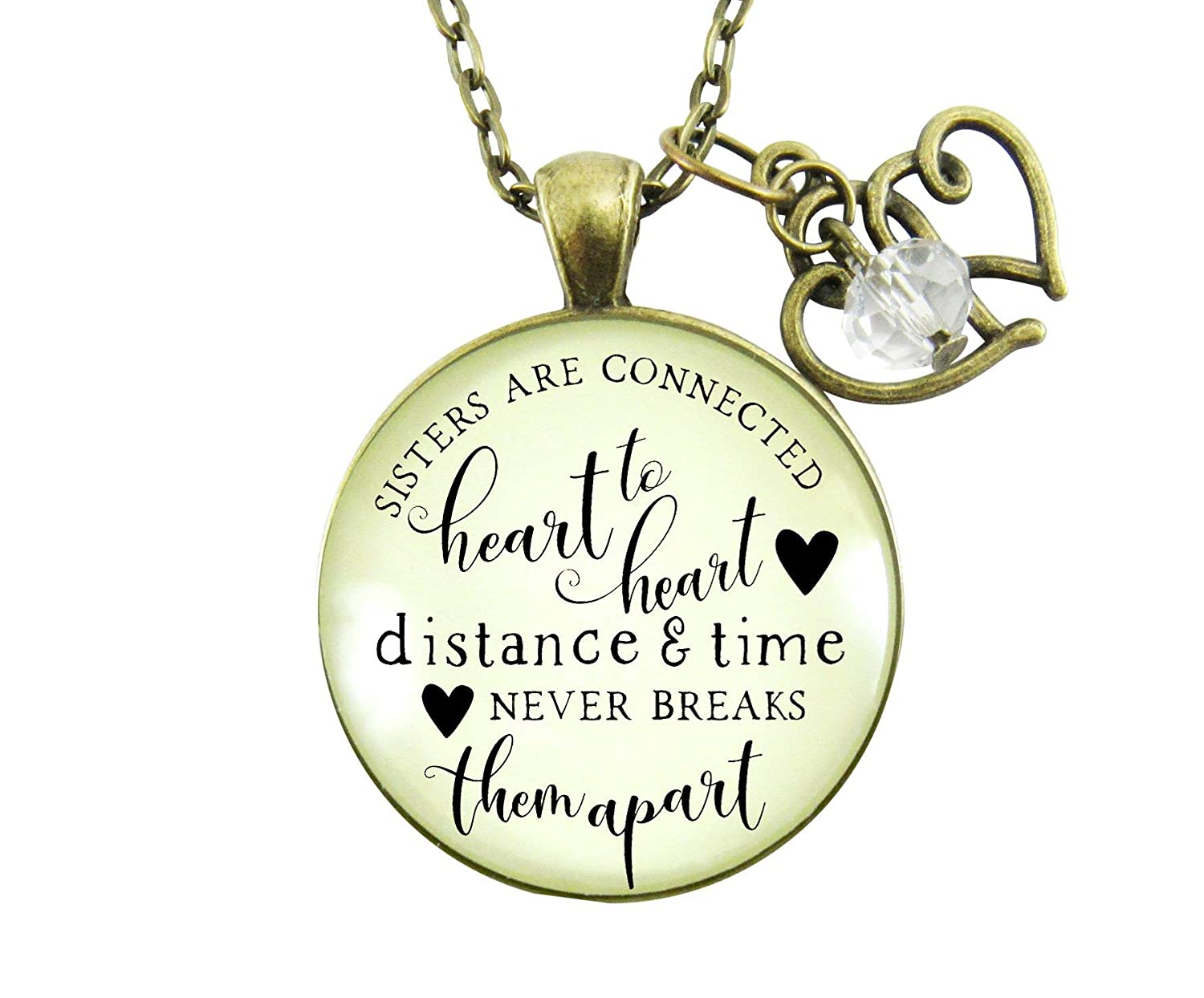 "Gutsy Goodness 36"" Sisters are Connected Necklace Long Distance Friendship Jewelry Gift"