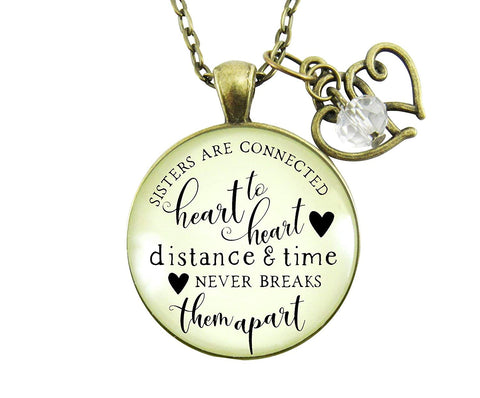 "24"" Sisters Are Connected Necklace Long Distance Women's Friendship Gift Rustic Bronze Jewelry Heart Charm"