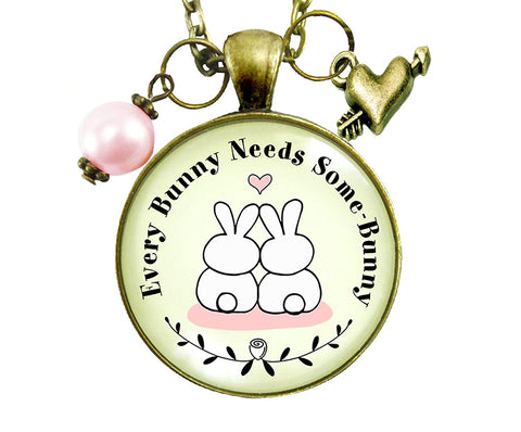 "24"" Every Bunny Needs Some Bunny Spring Jewelry Love Necklace Vintage Style Pendant Pink Bead"