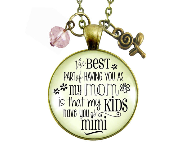 "36"" Mimi Necklace Best Part of Having You As Mom Kids Have Grandma Women's Jewelry Keepsake Gift From Daughter"
