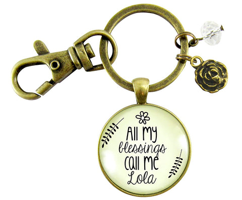 Grandma Lola Keychain All My Blessings Call Me Lola Gift Quote Womens Grandmother Jewelry Blessed Life Card Flower Charm