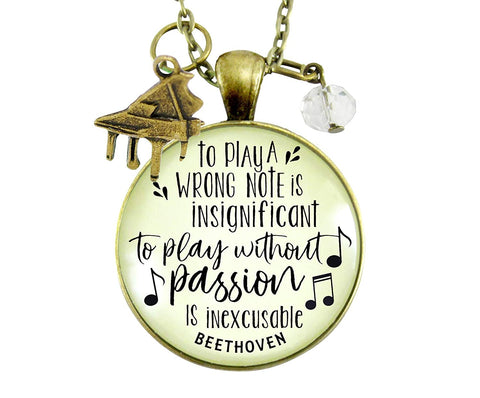 "24"" Piano Necklace To Play A Wrong Note Is Insignificant Beethoven Quote Pendant Music Piano Teacher Jewelry Charm"