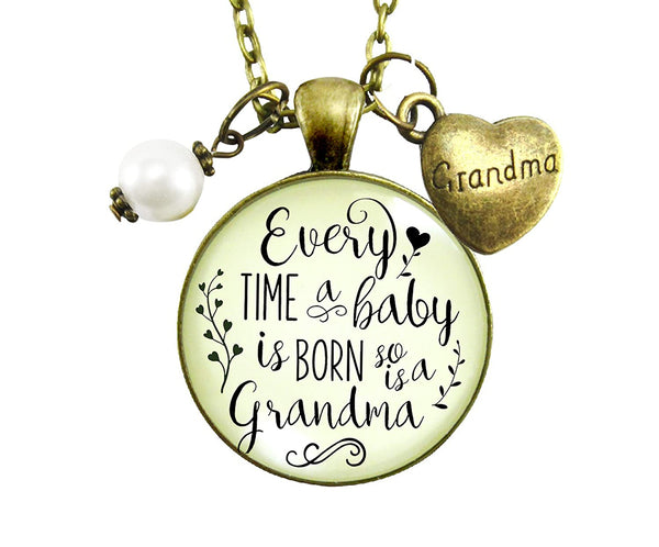 "24"" New Grandma Necklace Every Time A Baby Is Born Women's Jewelry Keepsake Pendant Gift From Daughter Heart Charm"