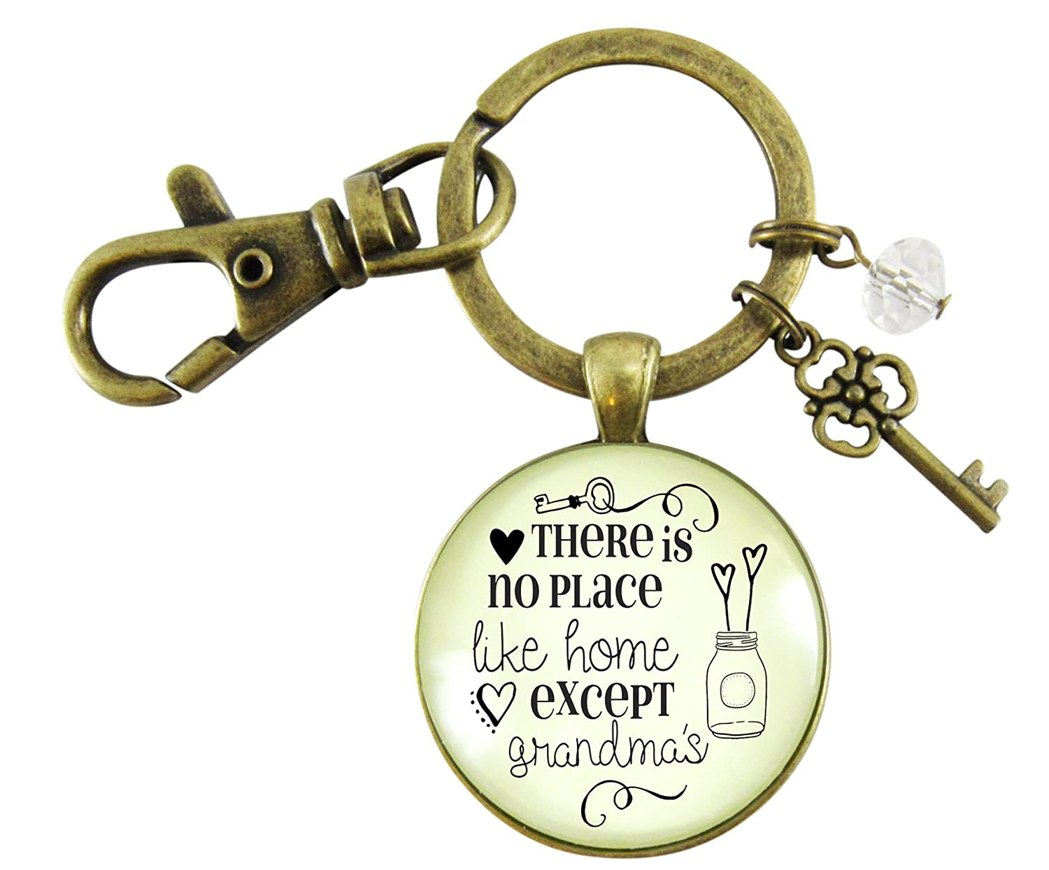 Grandmother Keychain There Is No Place Like Home Except Grandma's House Vintage Bronze Key Ring Gift Charm