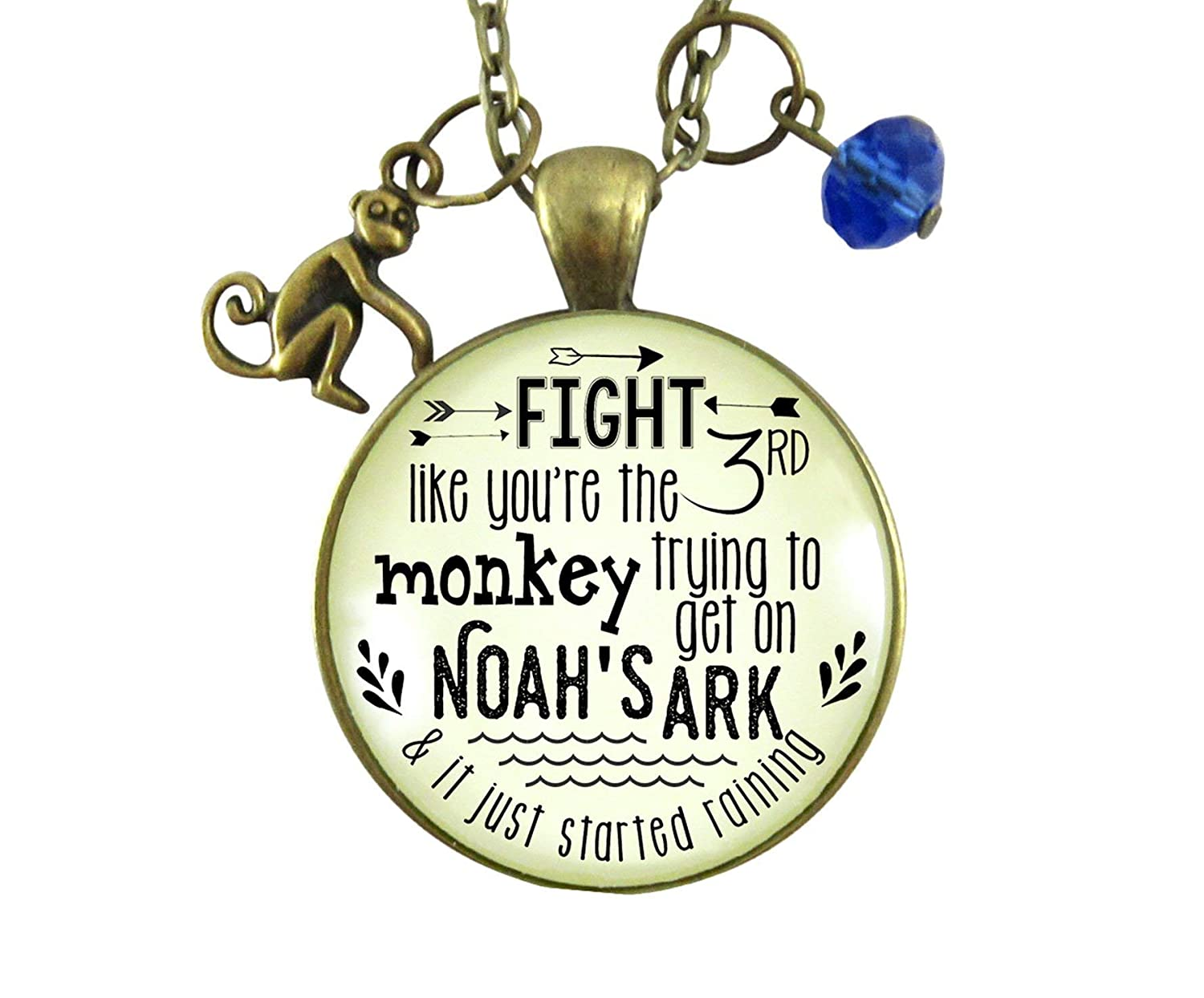 "Gutsy Goodness 24"" Monkey Necklace Fight Like Noah's Ark Quote Life Survivor Fun Jewelry"