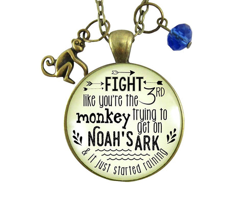 "24"" Monkey Necklace Fight Like You're The Third Noah's Ark Inspired Life Survivor Pendant Womens Fun Jewelry"