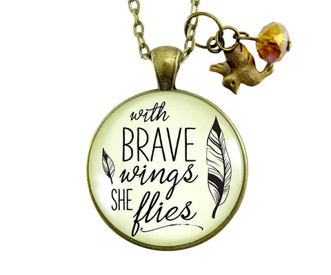 "36"" Strong Woman Necklace With Brave Wings She Flies Brave Mantra Jewelry Boho Inspired Pendant Hummingbird Charm"