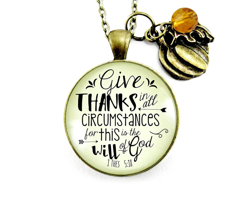 "24"" Pumpkin Necklace Give Thanks In All Circumstances Autumn Thanksgiving Christian Thankful Jewelry"