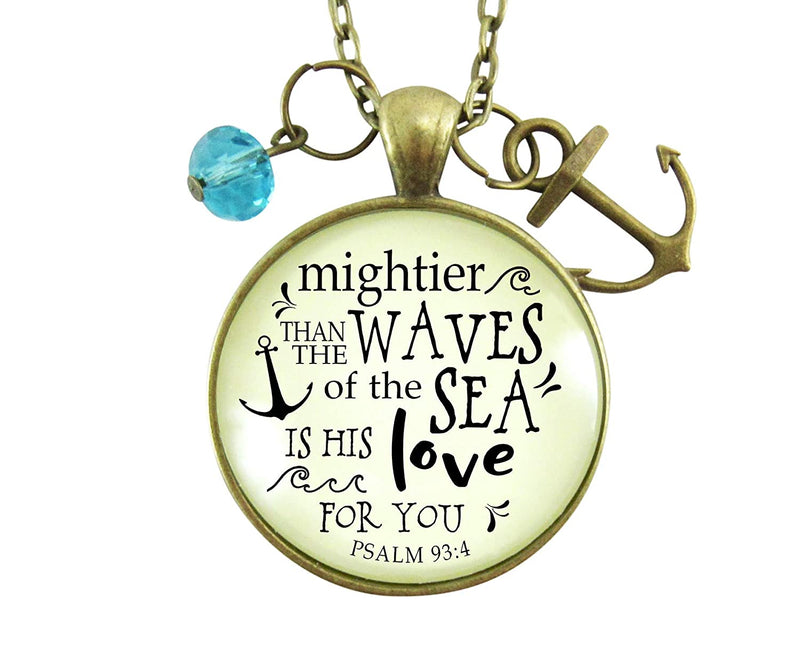 "Gutsy Goodness 36"" Anchor Necklace Mightier Than Waves Bible Quote God's Love Jewelry"